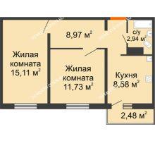 2 комнатная квартира 48,07 м² в ЖК Торпедо, дом № 17 - планировка