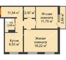 2 комнатная квартира 56,75 м² в ЖК Торпедо, дом № 19 - планировка
