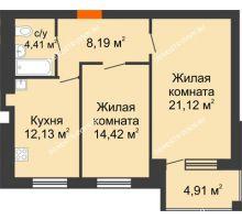 2 комнатная квартира 62,72 м² в ЖК Свобода, дом 2 очередь