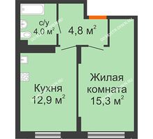 1 комнатная квартира 37 м² в ЖК Новая Кузнечиха, дом № 28 - планировка