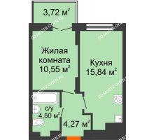 1 комнатная квартира 36,28 м² в ЖК КМ Анкудиновский парк, дом № 20 - планировка
