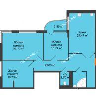 Студия 121,1 м², Жилой дом на ул. Платонова, 9,11 - планировка