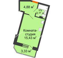 Студия 25,09 м² в ЖК Мандарин, дом 1 позиция 1,2 секция - планировка