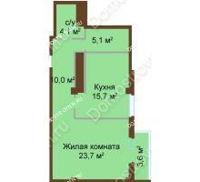 1 комнатная квартира 61,4 м², ЖК Бояр Палас - планировка