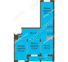 3 комнатная квартира 102,5 м² в ЖК Монолит, дом № 89, корп. 1, 2 - планировка