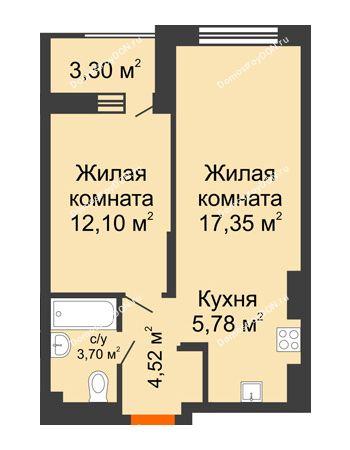 2 комнатная квартира 45,1 м² - ЖК ПАРК