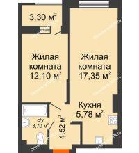 2 комнатная квартира 45,1 м², ЖК ПАРК - планировка