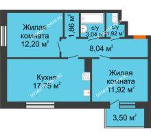 2 комнатная квартира 57,78 м² - Жилой дом: г. Дзержинск, ул. Буденного, д.11б