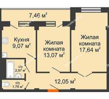 2 комнатная квартира 60,31 м² в ЖК Парковый, дом 6 позиция, блок-секция 3 - планировка