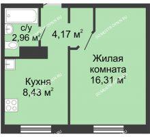 1 комнатная квартира 31,87 м² в ЖК Корабли, дом № 12
