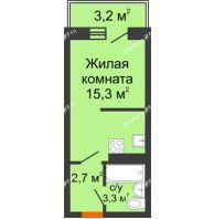 Студия 22,9 м² в ЖК Парк Победы, дом Литер 4 - планировка