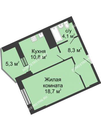 1 комнатная квартира 47,4 м² в ЖК Монолит, дом № 89, корп. 3