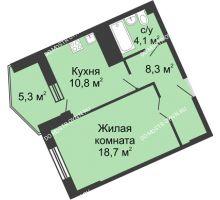 1 комнатная квартира 47,4 м² в ЖК Монолит, дом № 89, корп. 3 - планировка