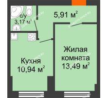 1 комнатная квартира 34,1 м² - ЖК Янтарный