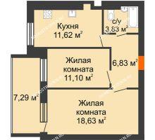 2 комнатная квартира 55,66 м² в ЖК Свобода, дом 1 очередь - планировка