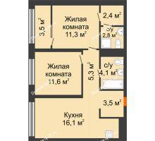 2 комнатная квартира 58,5 м² в Квартал Новин, дом 6 очередь ГП-6 - планировка