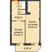 2 комнатная квартира 62,9 м², ЖК Sacco & Vanzetty, 82 (Сакко и Ванцетти, 82) - планировка