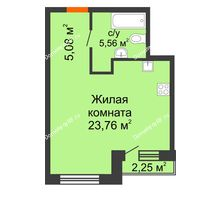 Студия 34,4 м² в ЖК Первая Линия. Гавань, дом № 2.4 - планировка
