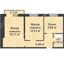 2 комнатная квартира 49,22 м² в ЖК Тридесятое, дом № 23 - планировка