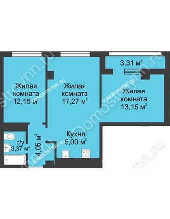 3 комнатная квартира 56,65 м² - Каскад на Сусловой