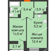 1 комнатная квартира 42,8 м² в ЖК Октава, дом №3