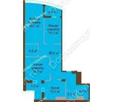 3 комнатная квартира 120,4 м² в ЖК Монолит, дом № 89, корп. 1, 2 - планировка