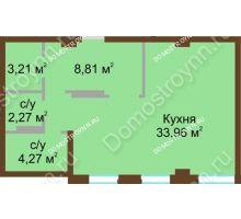 1 комнатная квартира 54,3 м² в ЖК Дом с террасами, дом № 1
