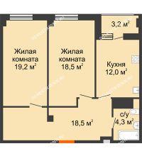 2 комнатная квартира 74,1 м² в ЖК Квартет, дом № 3 - планировка