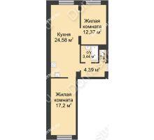 2 комнатная квартира 62,82 м² - ЖК Университетский
