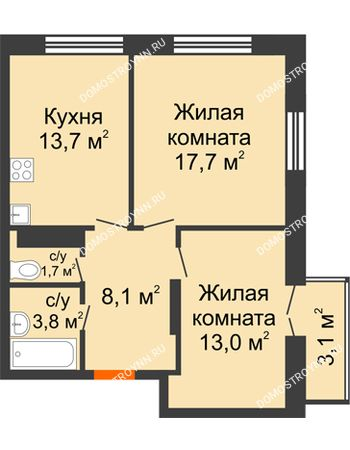 2 комнатная квартира 58,93 м² в ЖК Заречье, дом № 1