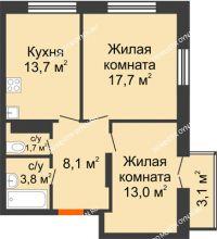 2 комнатная квартира 58,93 м² в ЖК Заречье, дом № 1 - планировка