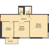 Студия 105,45 м², Жилой дом на ул. Платонова, 9,11 - планировка