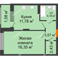 1 комнатная квартира 39,94 м² в ЖК Суворов-Сити, дом 1 очередь секция 6-13 - планировка