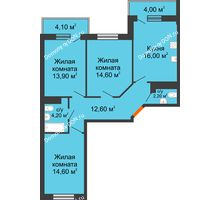 3 комнатная квартира 81,33 м² в ЖК Я, дом  Литер 2 - планировка