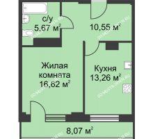 1 комнатная квартира 50,13 м² - ЖК На Ошарской
