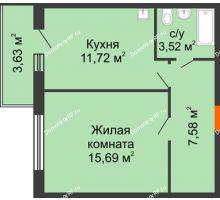 1 комнатная квартира 38,51 м² в ЖК Образцово, дом № 4 - планировка