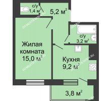 1 комнатная квартира 35,9 м² в ЖК Окский берег, дом №6, Приокская улица - планировка