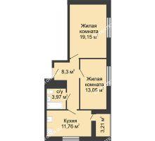 2 комнатная квартира 59,4 м² - ЖК Алый Парус