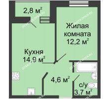 1 комнатная квартира 37,3 м² в ЖК Цветы, дом № 10 - планировка