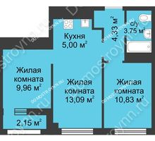 3 комнатная квартира 48,04 м² - Каскад на Сусловой