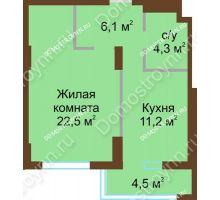 1 комнатная квартира 49,2 м² - ЖК Подкова Сормовская