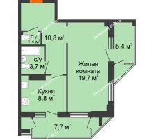 1 комнатная квартира 51,4 м² - ЖК на ул. Греческого Города Волос, 82