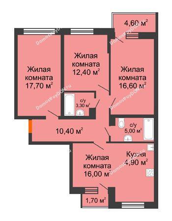 4 комнатная квартира 89,5 м² в ЖК Династия, дом Литер 2