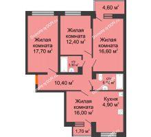4 комнатная квартира 89,5 м² в ЖК Династия, дом Литер 2 - планировка