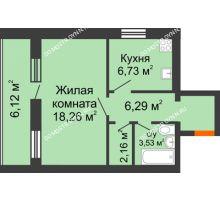1 комнатная квартира 40,03 м², ЖК Дом у озера - планировка
