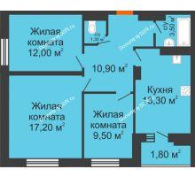 3 комнатная квартира 69,5 м² в ЖК Вересаево, дом Литер 13/1 - планировка