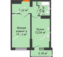 1 комнатная квартира 38,44 м², ЖК Орбита - планировка