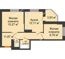 2 комнатная квартира 56,84 м² в ЖК Днепровская Роща, дом № 2 - планировка