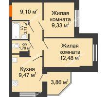 2 комнатная квартира 48,74 м² в ЖК Днепровская Роща, дом № 2 - планировка