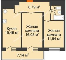 2 комнатная квартира 59,2 м², ЖК Время - планировка